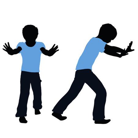 niño empujando: ilustración vectorial de la silueta del muchacho en pose Empujar