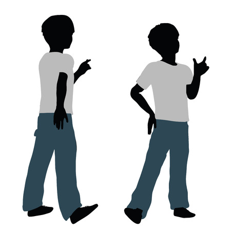 contented: vector illustration of boy silhouette in Happy Talk Pose
