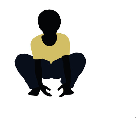 propulsion: vector illustration of boy silhouette in Lifting Pose