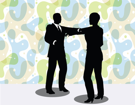 handclasp: vector illustration of business man and woman silhouette in handshake pose
