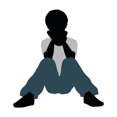 intimate: vector illustration of boy silhouette in Intimate Talk Pose