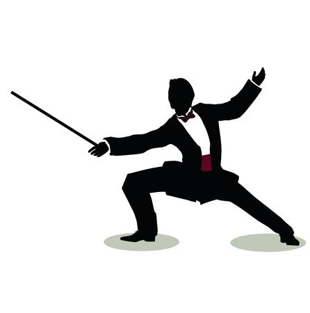 esgrimista: ilustración vectorial de la silueta del hombre en actitud inmóvil Esgrimidor