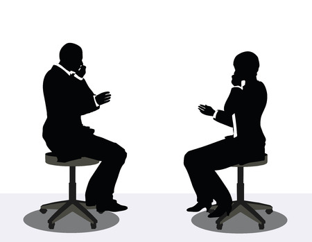 cordless phone: vector illustration of business man and woman silhouette on phone Illustration