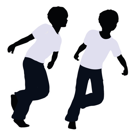 propulsion: vector illustration of boy silhouette in Pulling Pose