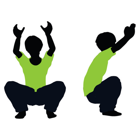 heave: illustration of boy silhouette in Lifting Pose Illustration