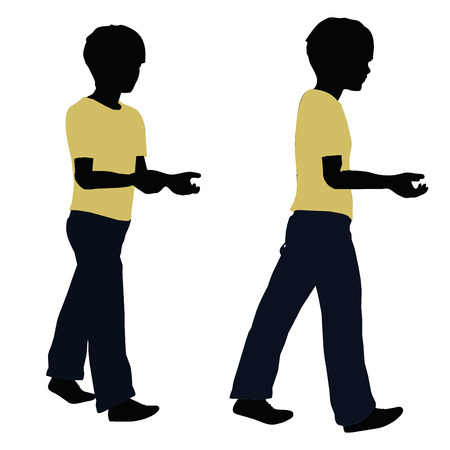 portage: vector illustration of boy silhouette in Carrying Pose