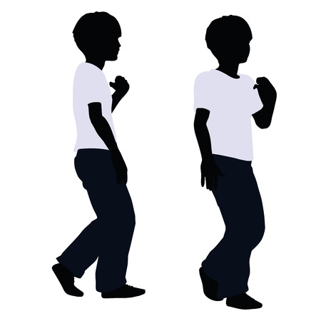 draughts: vector illustration of boy silhouette in Pulling Pose