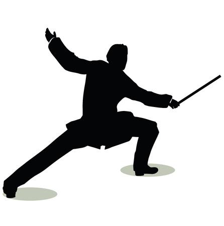 esgrimista: vector illustration of man silhouette in Still Pose Fencer