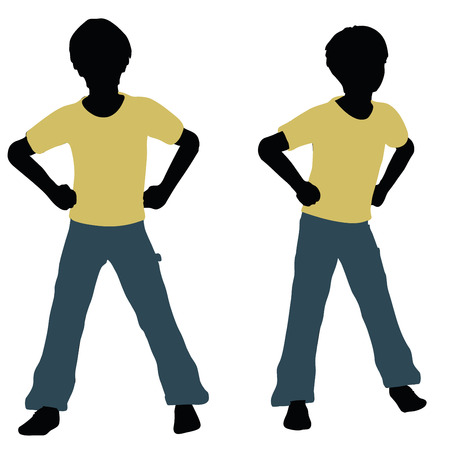 vector illustration of boy silhouette in Angry Talk Pose Illustration