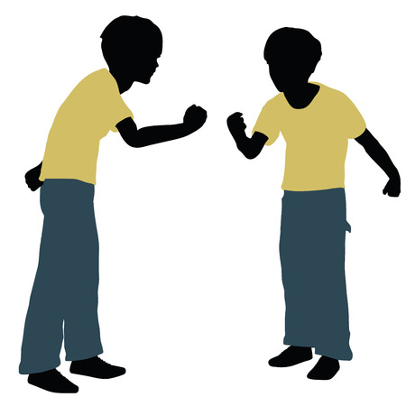 wroth: vector illustration of boy silhouette in Angry Talk Pose Illustration
