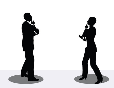 woman on cell phone: vector illustration of business man and woman silhouette on phone Illustration