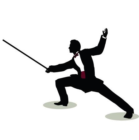 illustration vectorielle de l'homme silhouette encore Pose Fencer