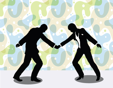 vector illustration of business man and woman silhouette in handshake pose
