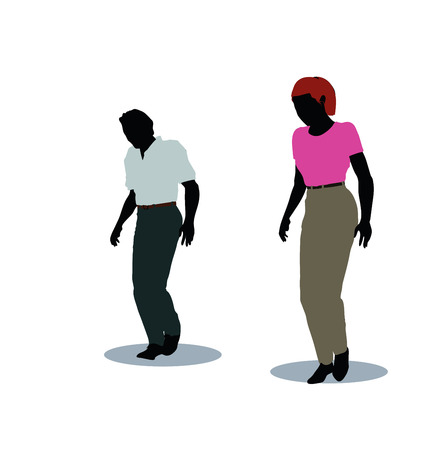 vector illustration of man and woman silhouette in walking pose