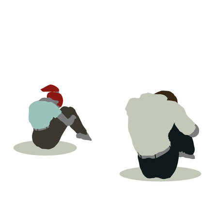 sitting on the ground: vector illustration of man and woman silhouette in Sitting On Ground pose Illustration