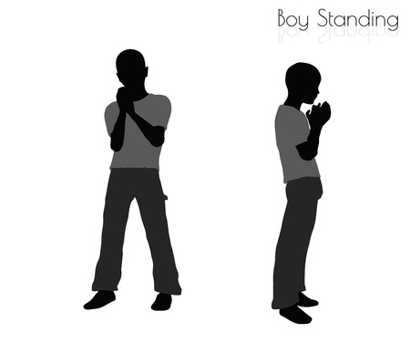 erect: EPS 10 vector illustration of boy in Standing pose on white background