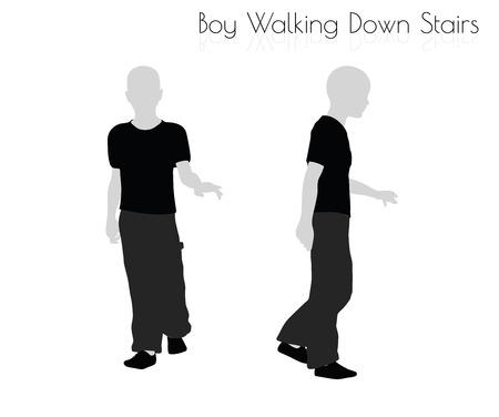 down the stairs: EPS 10 ilustración vectorial de niño en todos los días caminando por las escaleras pose en el fondo blanco Vectores