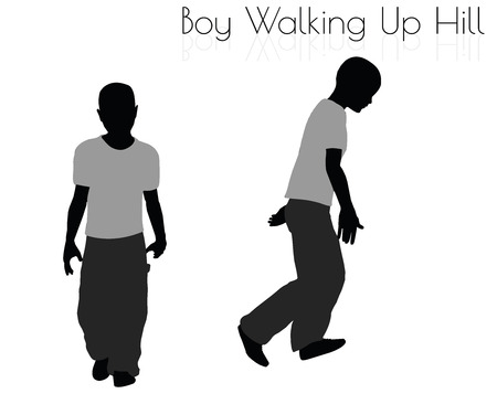 slog: EPS 10 vector illustration of boy in Everyday Walking Up Hilll pose on white background
