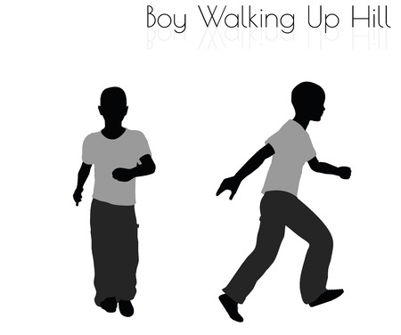 wander: EPS 10 vector illustration of boy in Everyday Walking Up Hilll pose on white background
