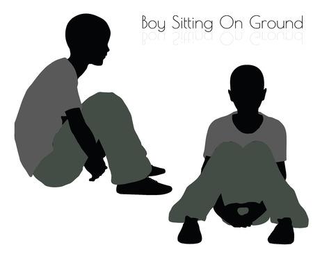 10 ilustración vectorial EPS de niño en actitud que se sienta en el fondo blanco Foto de archivo - 64384893