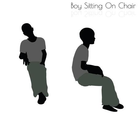 10 ilustración vectorial EPS de niño en actitud que se sienta en el fondo blanco Foto de archivo - 64384894