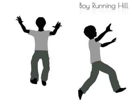 EPS 10 vector illustration of boy in Running pose on white background