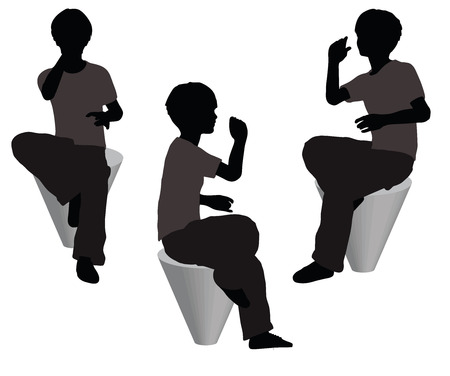devour: EPS 10 vector illustration of boy in Everyday Eating pose on white background
