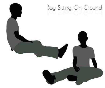 Ilustración de vector EPS 10 de niño en pose sentada sobre fondo blanco Foto de archivo - 64384905