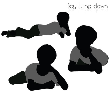 lying down: EPS 10 vector illustration of boy in Lying down pose on white background