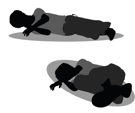 catnap: EPS 10 vector illustration of boy in Everyday Sleeping pose on white background Illustration