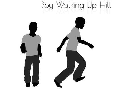 troop: EPS 10 vector illustration of boy in Everyday Walking Up Hilll pose on white background