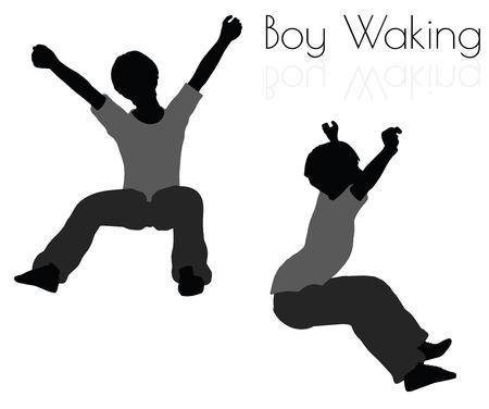 wakening: EPS 10 vector illustration of boy in Everyday Waking Up pose on white background Illustration
