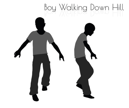 EPS 10 vector illustration of boy in Everyday Walking Down Hill pose on white background