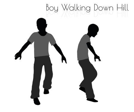 EPS 10 Vektor-Illustration des Jungen in der taglichen Walking Down Hill auf weißem Hintergrund stellen