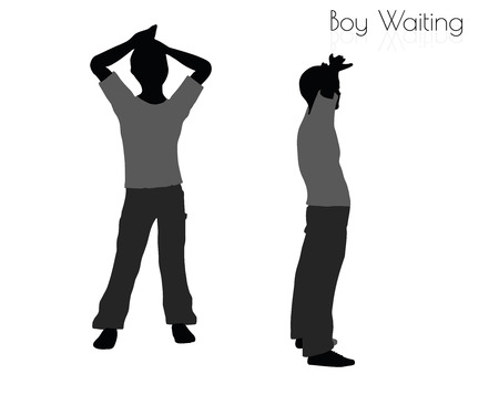 EPS 10 vector illustration of boy in Waiting pose on white background Illustration