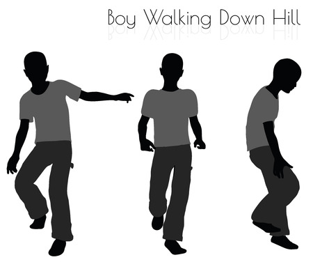 wander: EPS 10 vector illustration of boy in Everyday Walking  Down Hill pose on white background Illustration