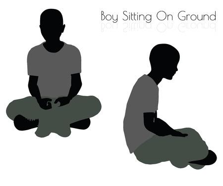 10 ilustración vectorial EPS de niño en actitud que se sienta en el fondo blanco Foto de archivo - 64384968
