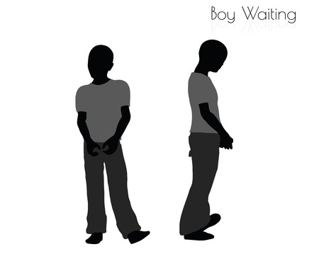 EPS 10 vector illustration of boy in Waiting pose on white background 向量圖像