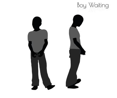 await: EPS 10 vector illustration of boy in Waiting pose on white background Illustration