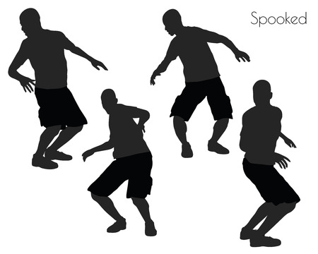 spectre: EPS 10 vector illustration of a man in Spooked pose on white background Illustration