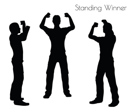 EPS 10 vector illustration of a man in Standing Winner  pose on white background Illustration