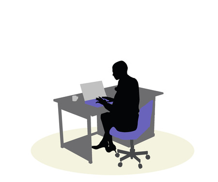 sedentario: EPS 10 vector illustration of a business woman sitting at a desk