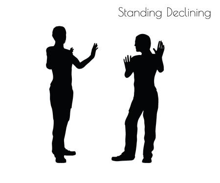 disapprove: EPS 10 vector illustration of a man in Standing Declining  pose on white background