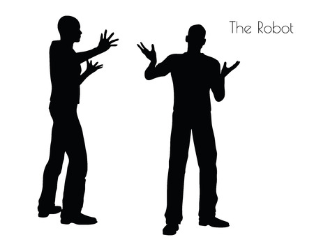 automatically: EPS 10 vector illustration of a man in The Robot pose on white background Illustration