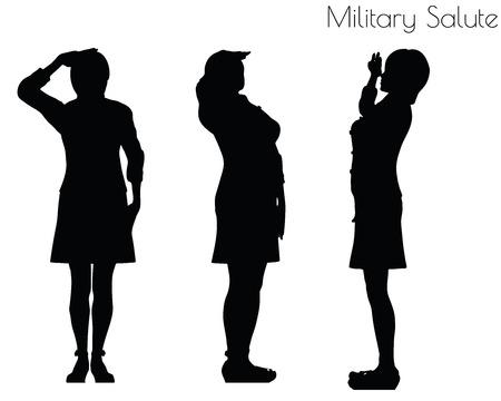 白い背景の上に敬礼女性の EPS 10 ベクトル イラスト ポーズします。  イラスト・ベクター素材