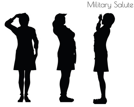 EPS 10 vector illustration of a woman in salute pose on white background