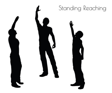 EPS 10 vector illustration of a man in Standing Reaching  pose on white background Illustration