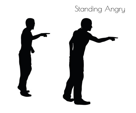 pissed off: EPS 10 vector illustration of a man in Standing Angry  pose on white background Illustration