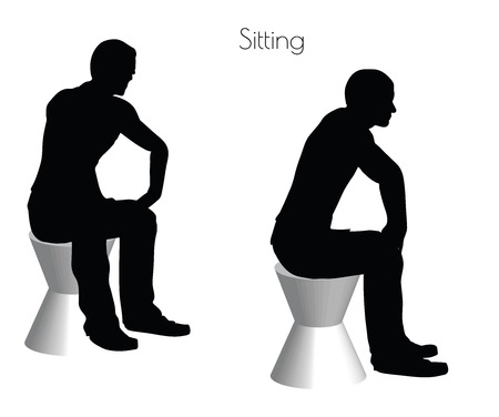 sedentario: EPS 10 vector illustration of a man in Sitting  pose on white background Vectores