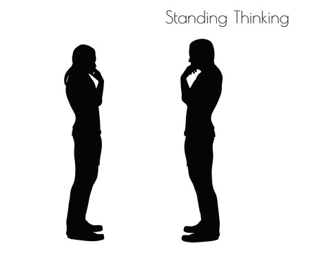 EPS 10 vector illustration of a man in Standing Thinking pose on white background
